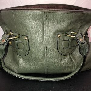 Adrienne Etigere Olive-green leather purse